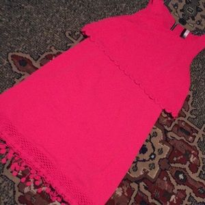 Pink size S crocheted trim Kenzie dress